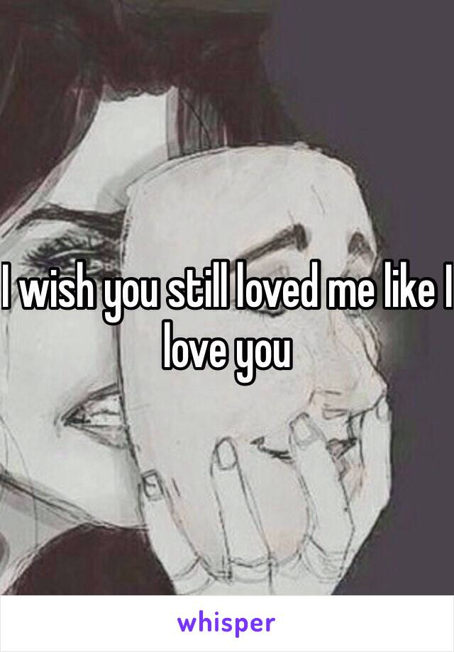 I wish you still loved me like I love you