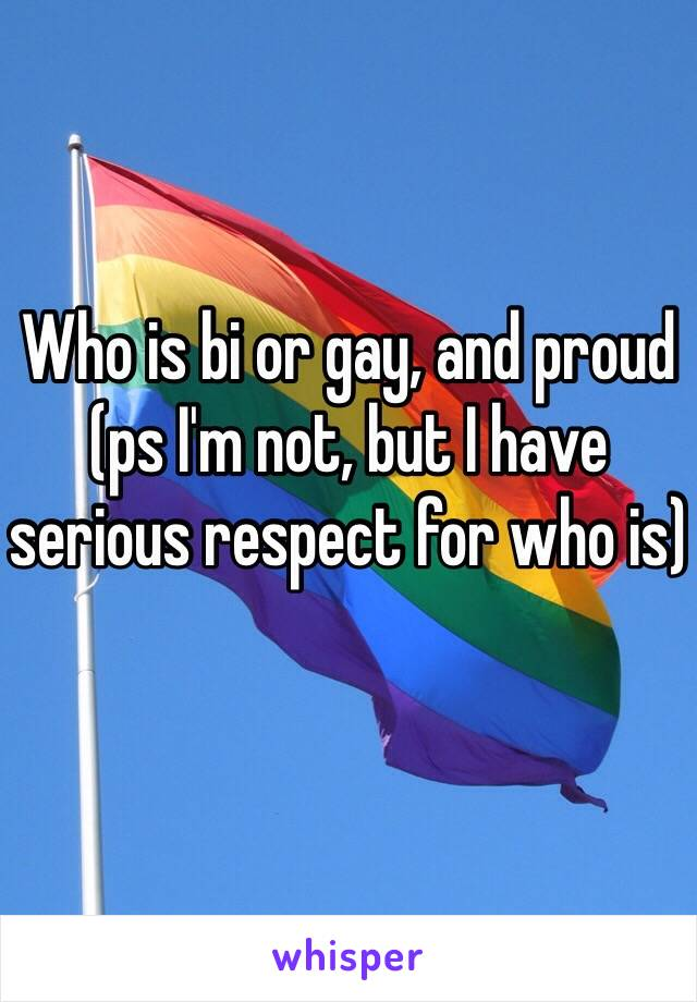 Who is bi or gay, and proud (ps I'm not, but I have serious respect for who is)