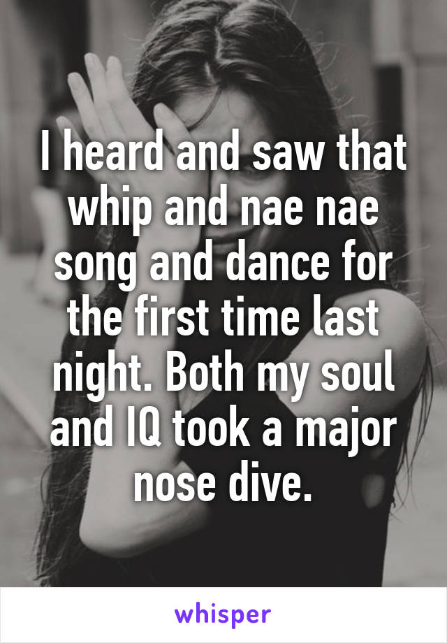 I heard and saw that whip and nae nae song and dance for the first time last night. Both my soul and IQ took a major nose dive.