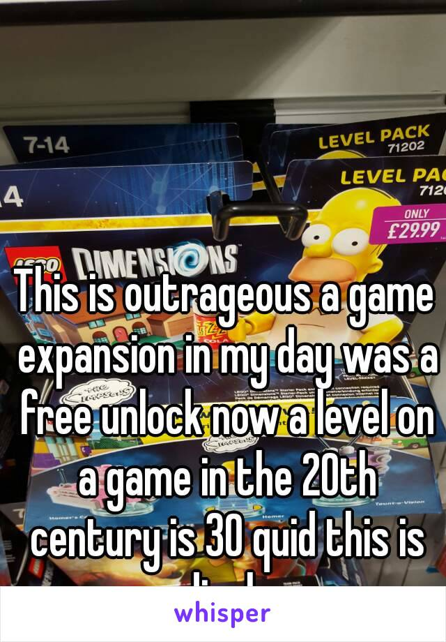 This is outrageous a game expansion in my day was a free unlock now a level on a game in the 20th century is 30 quid this is rediculous