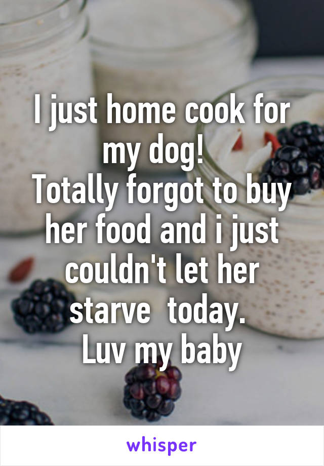 I just home cook for my dog!   Totally forgot to buy her food and i just couldn't let her starve  today.  Luv my baby