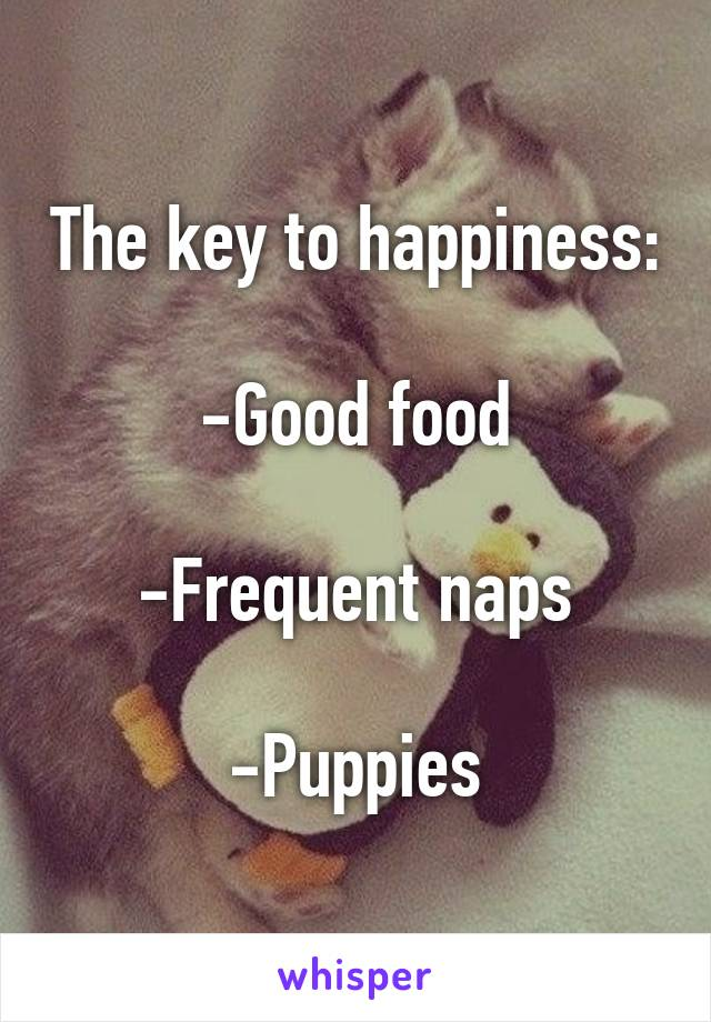 The key to happiness:  -Good food  -Frequent naps  -Puppies