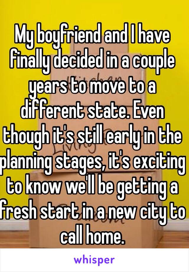 My boyfriend and I have finally decided in a couple years to move to a different state. Even though it's still early in the planning stages, it's exciting to know we'll be getting a fresh start in a new city to call home.