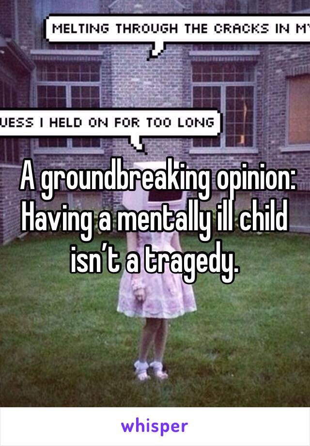 A groundbreaking opinion: Having a mentally ill child isn't a tragedy.