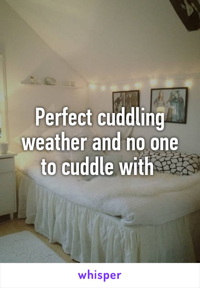 Perfect cuddling weather and no one to cuddle with