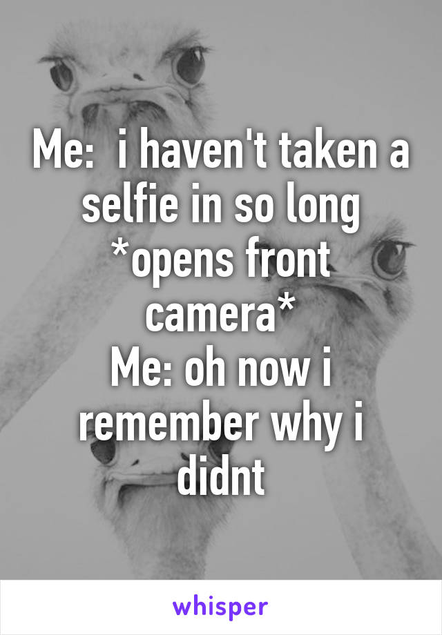 Me:  i haven't taken a selfie in so long *opens front camera* Me: oh now i remember why i didnt