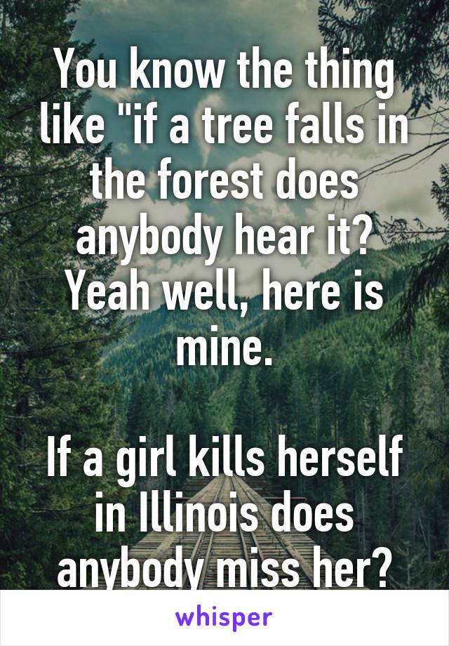 """You know the thing like """"if a tree falls in the forest does anybody hear it? Yeah well, here is mine.  If a girl kills herself in Illinois does anybody miss her?"""