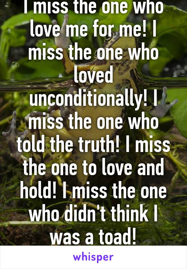 I miss the one who love me for me! I miss the one who loved unconditionally! I miss the one who told the truth! I miss the one to love and hold! I miss the one who didn't think I was a toad!