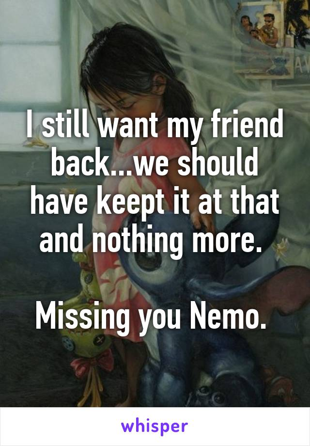 I still want my friend back...we should have keept it at that and nothing more.   Missing you Nemo.