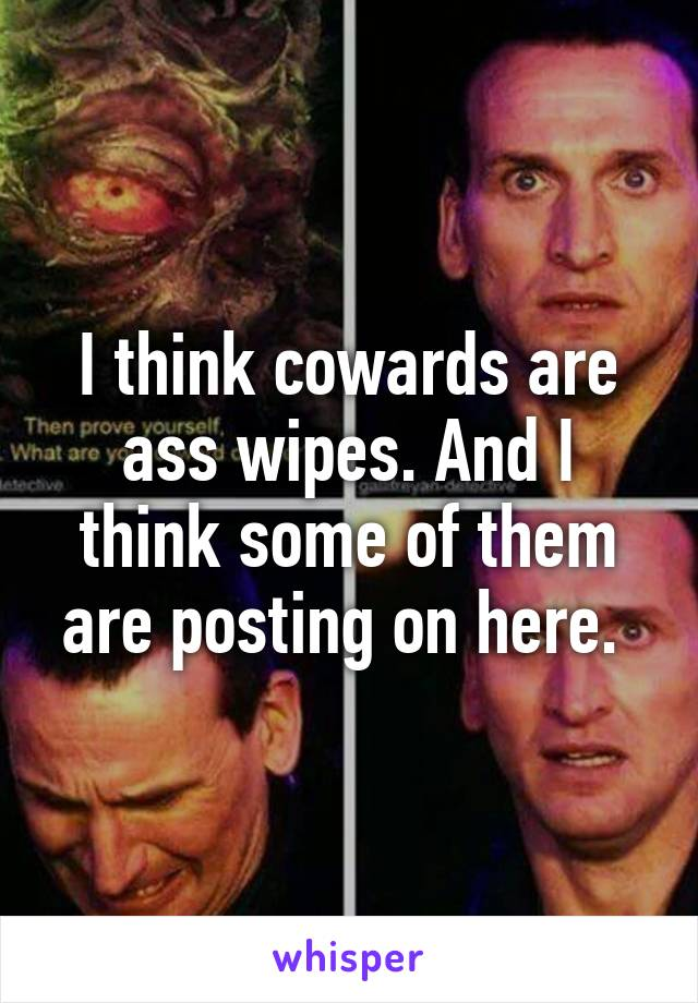 I think cowards are ass wipes. And I think some of them are posting on here.