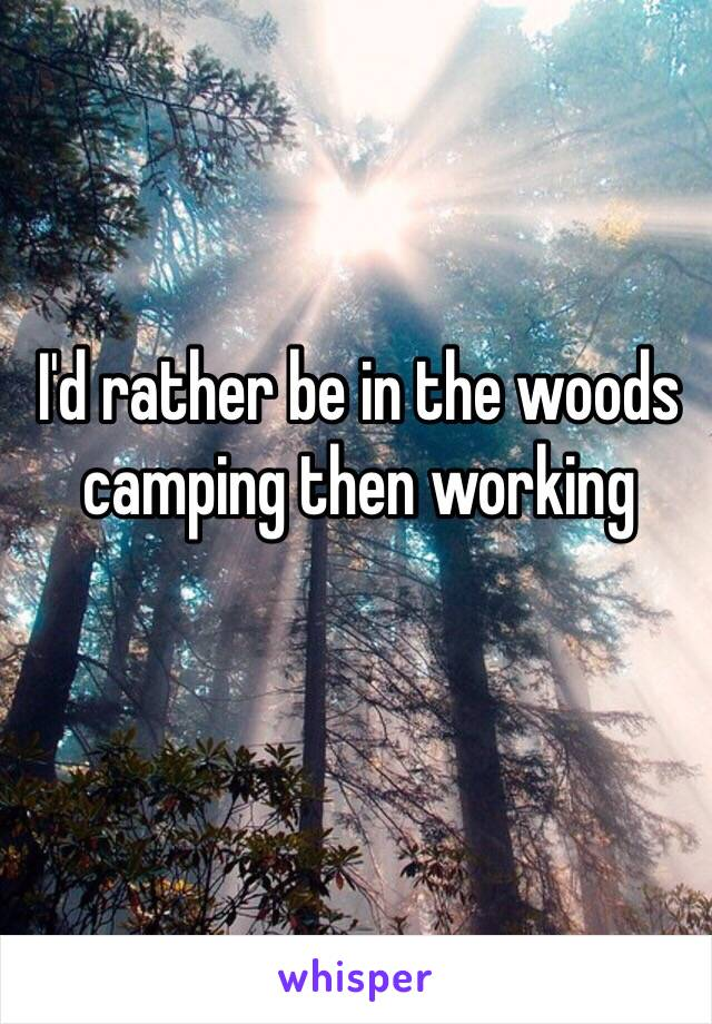 I'd rather be in the woods camping then working