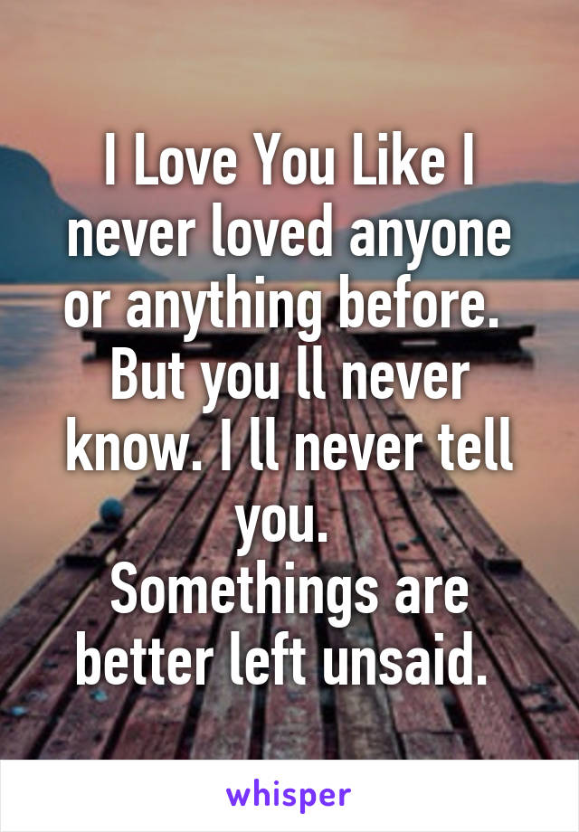 I Love You Like I never loved anyone or anything before.  But you ll never know. I ll never tell you.  Somethings are better left unsaid.