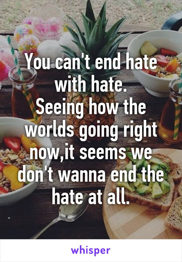 You can't end hate with hate. Seeing how the worlds going right now,it seems we don't wanna end the hate at all.