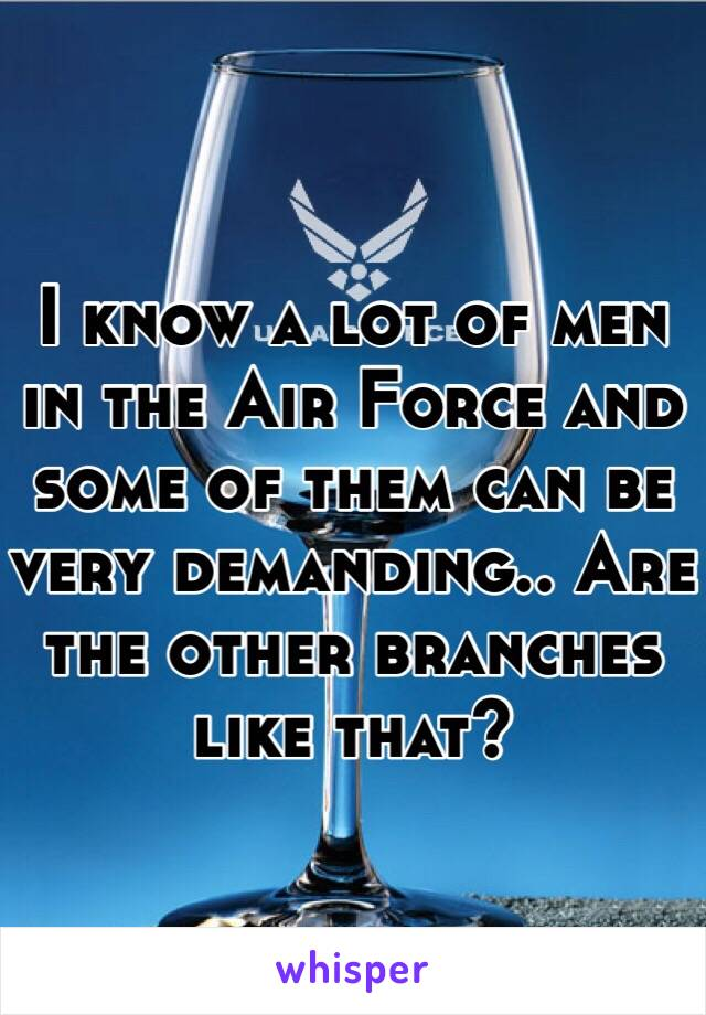 I know a lot of men in the Air Force and some of them can be very demanding.. Are the other branches like that?