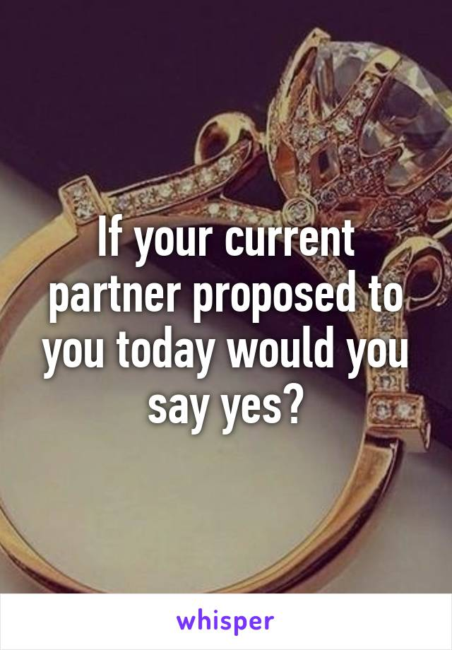 If your current partner proposed to you today would you say yes?