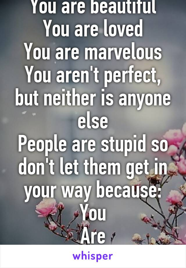 You are beautiful You are loved You are marvelous You aren't perfect, but neither is anyone else People are stupid so don't let them get in your way because: You Are Strong.