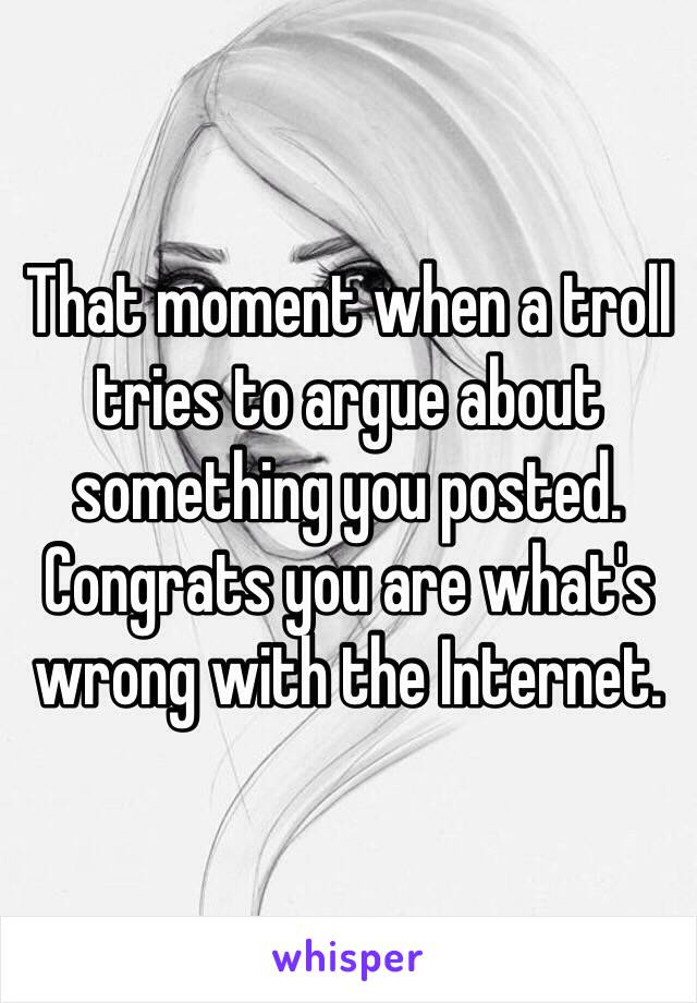 That moment when a troll tries to argue about something you posted. Congrats you are what's wrong with the Internet.