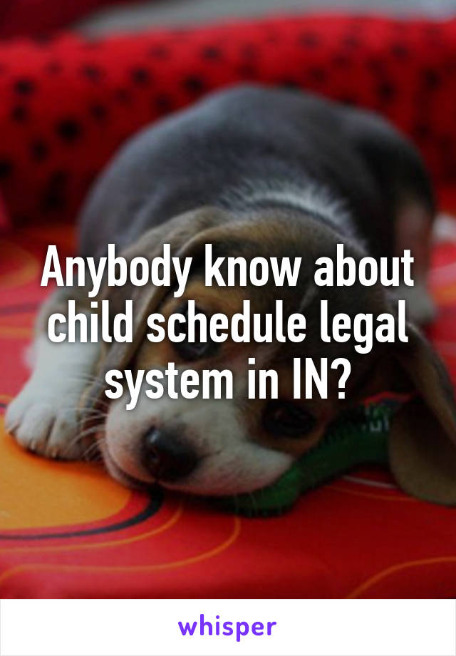 Anybody know about child schedule legal system in IN?