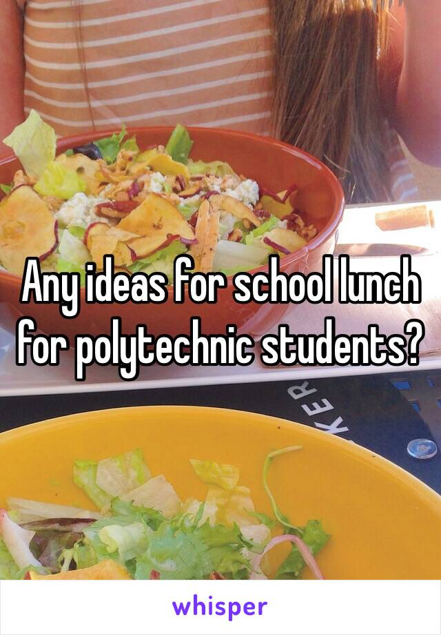 Any ideas for school lunch for polytechnic students?
