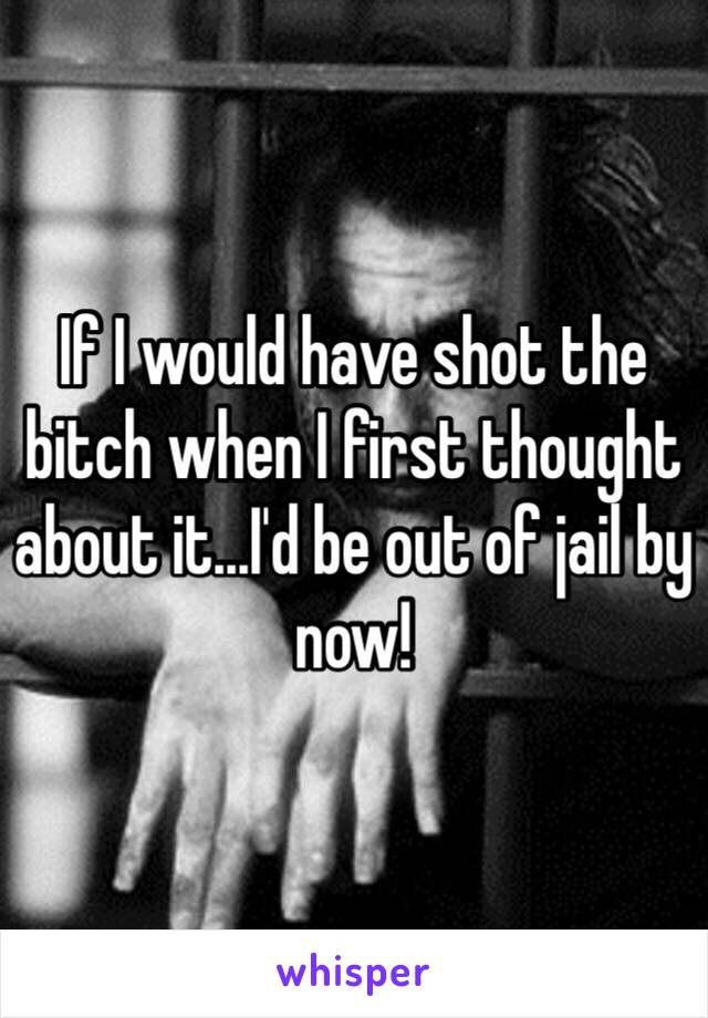 If I would have shot the bitch when I first thought about it...I'd be out of jail by now!