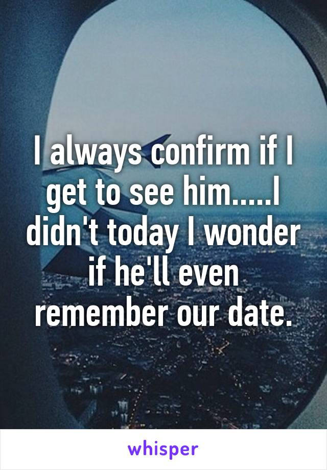 I always confirm if I get to see him.....I didn't today I wonder if he'll even remember our date.