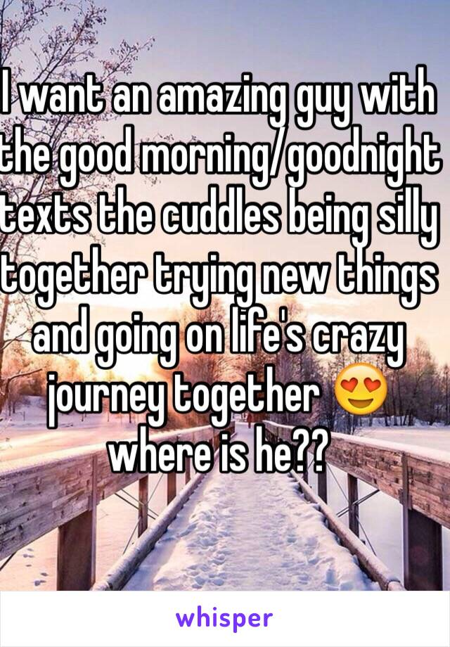 I want an amazing guy with the good morning/goodnight texts the cuddles being silly together trying new things and going on life's crazy journey together 😍 where is he??