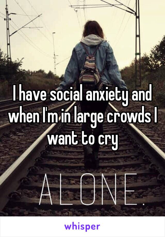 I have social anxiety and when I'm in large crowds I want to cry