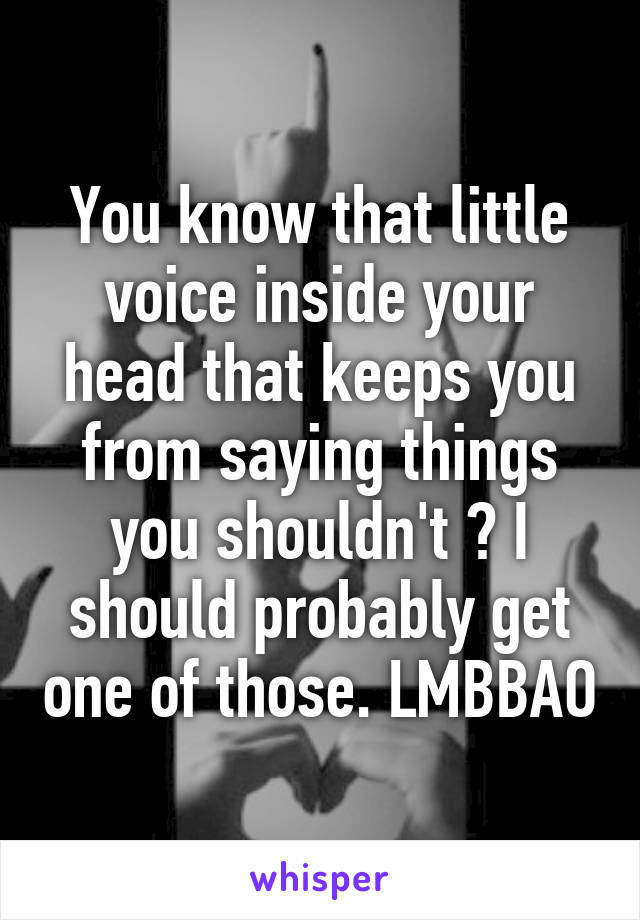 You know that little voice inside your head that keeps you from saying things you shouldn't ? I should probably get one of those. LMBBAO