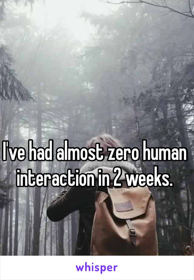 I've had almost zero human interaction in 2 weeks.