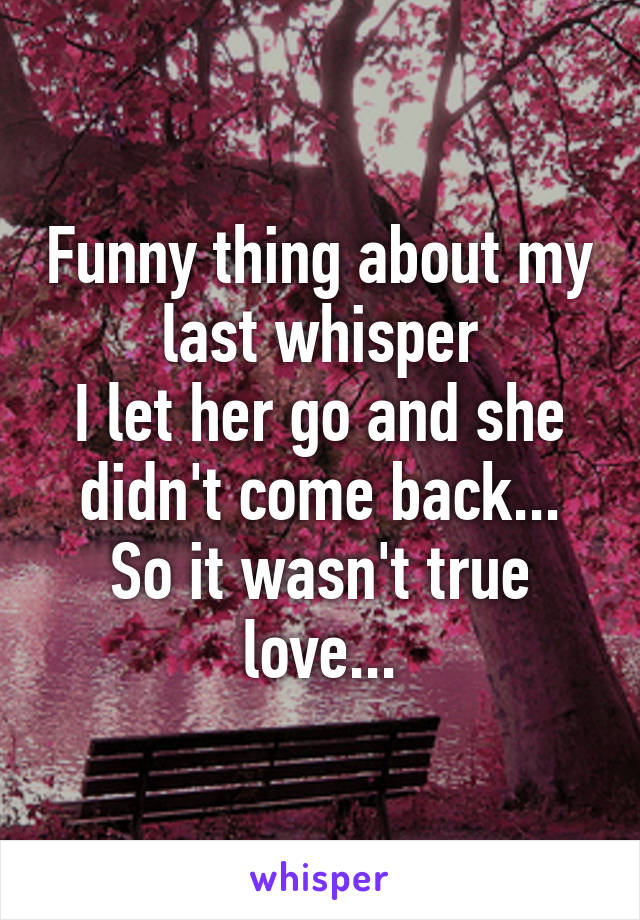 Funny thing about my last whisper I let her go and she didn't come back... So it wasn't true love...