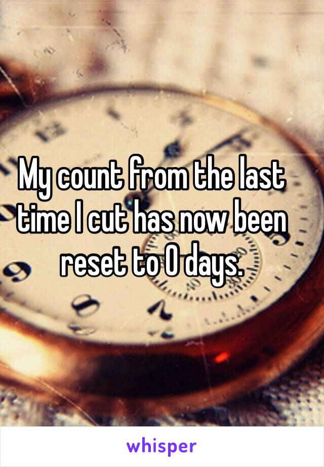 My count from the last time I cut has now been reset to 0 days.