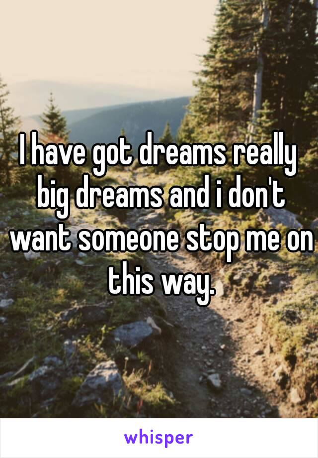 I have got dreams really big dreams and i don't want someone stop me on this way.