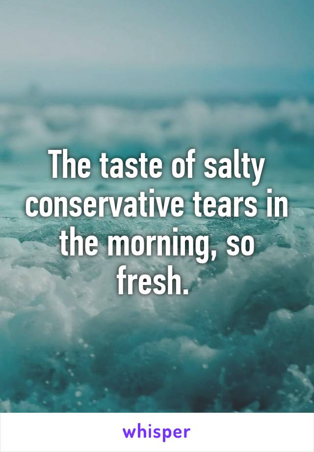 the taste of salty conservative tears in the morning so fresh