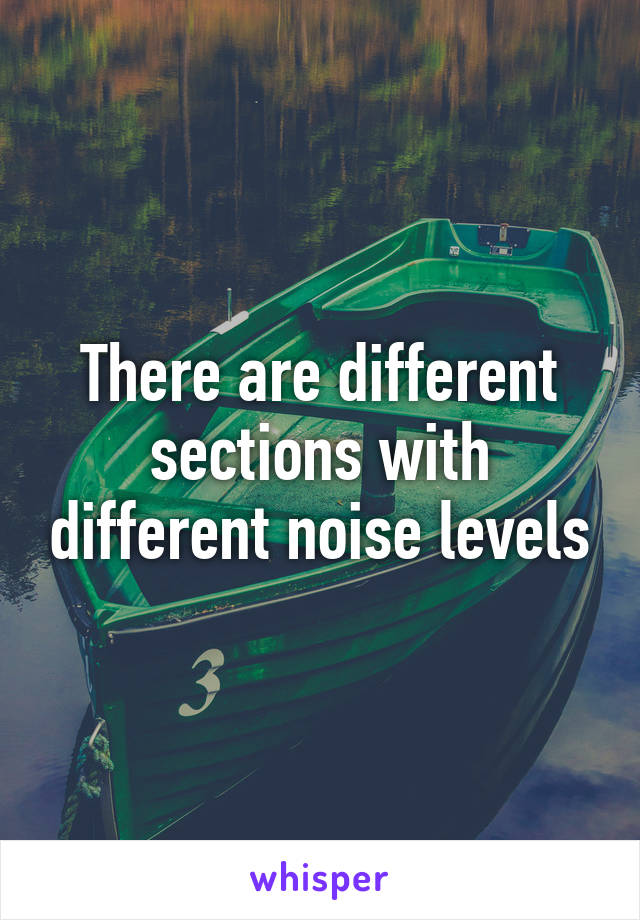 There are different sections with different noise levels