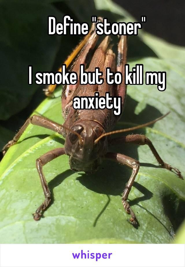 "Define ""stoner""  I smoke but to kill my anxiety"