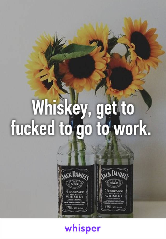 Whiskey, get to fucked to go to work.