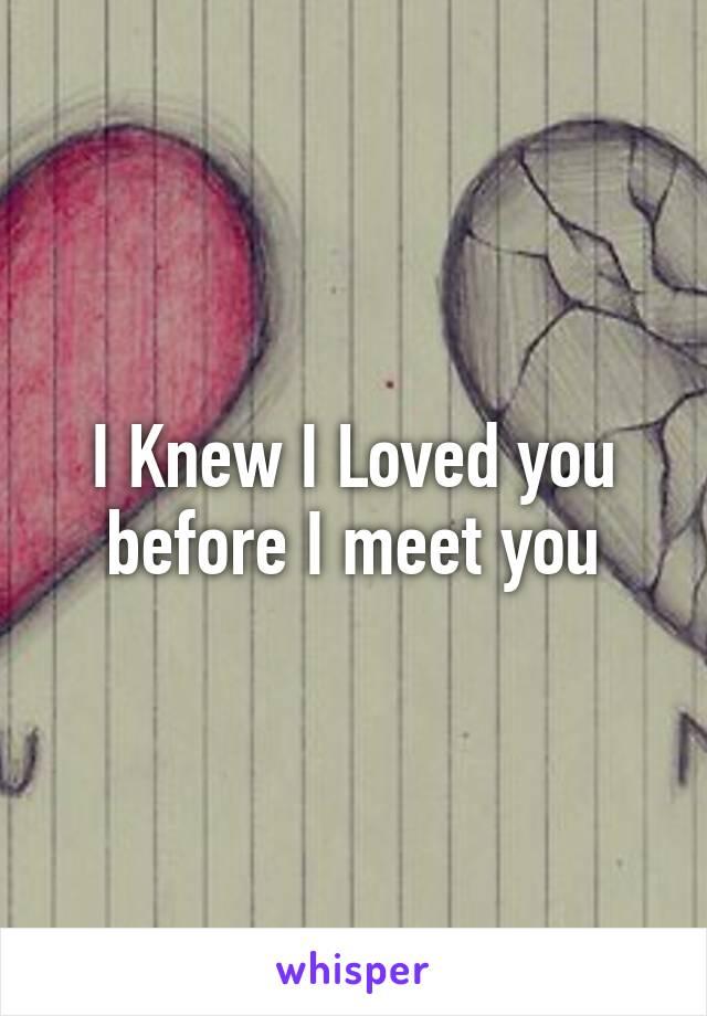 I Knew I Loved you before I meet you