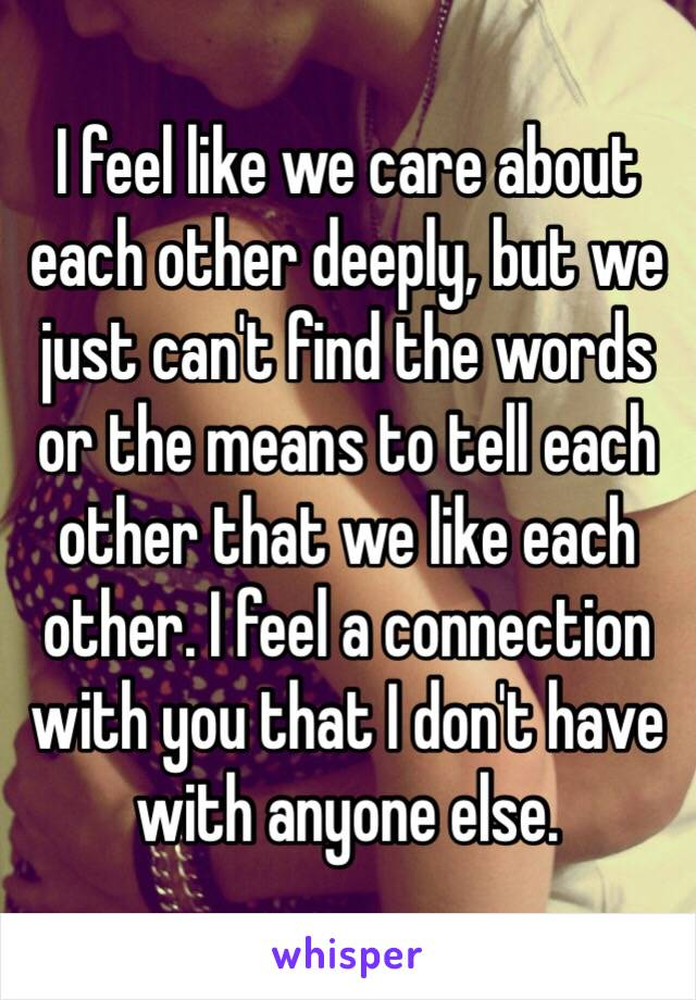 I feel like we care about each other deeply, but we just can't find the words or the means to tell each other that we like each other. I feel a connection with you that I don't have with anyone else.