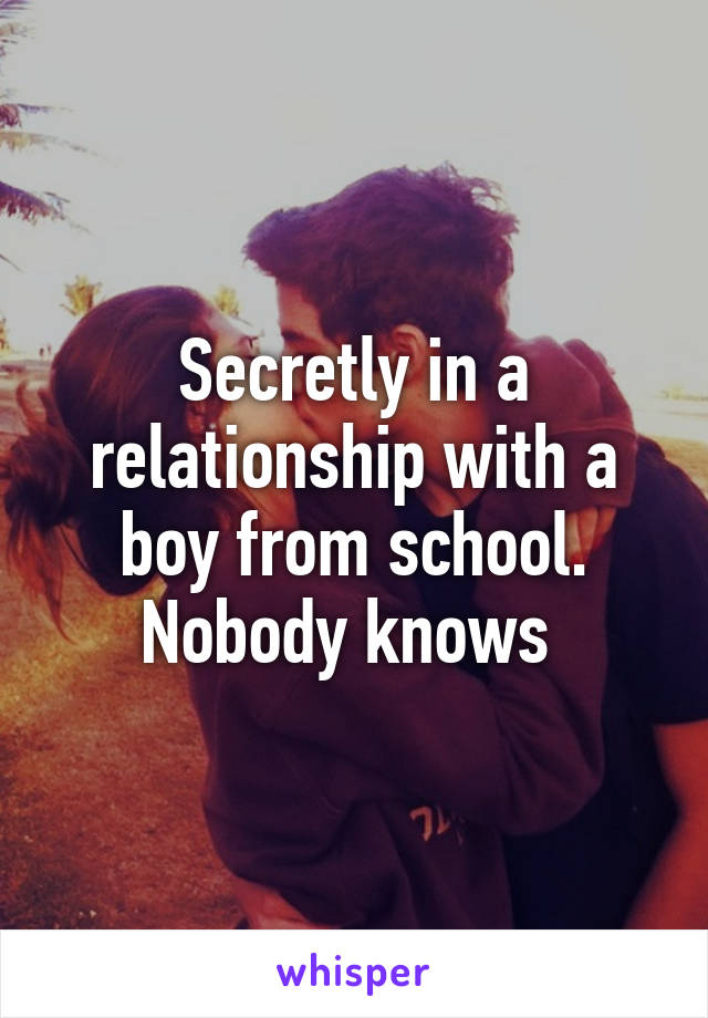 Secretly in a relationship with a boy from school. Nobody knows