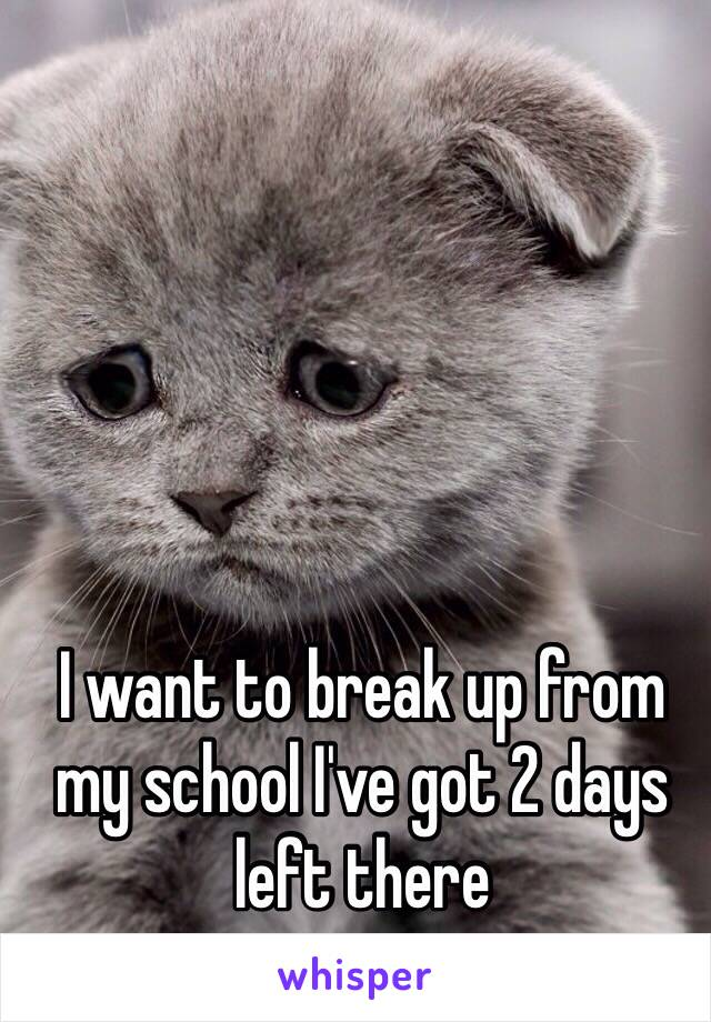 I want to break up from my school I've got 2 days left there