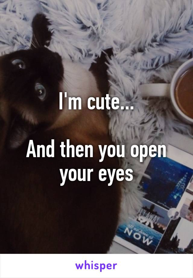 I'm cute...  And then you open your eyes