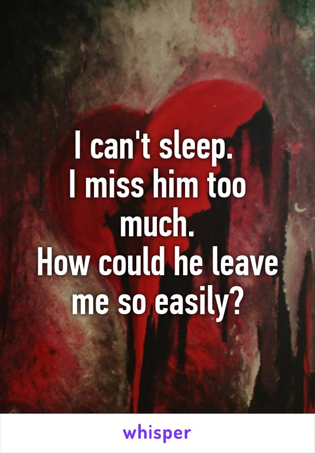 I can't sleep.  I miss him too much. How could he leave me so easily?