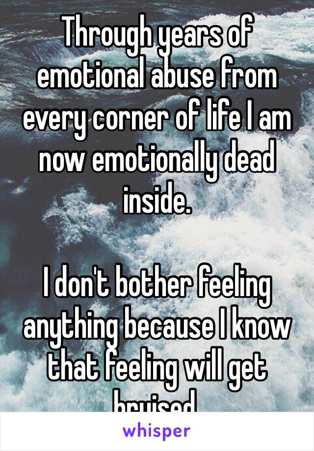 Through years of emotional abuse from every corner of life I am now emotionally dead inside.   I don't bother feeling anything because I know that feeling will get bruised.