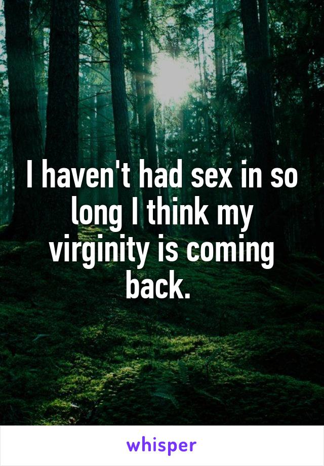 I haven't had sex in so long I think my virginity is coming back.
