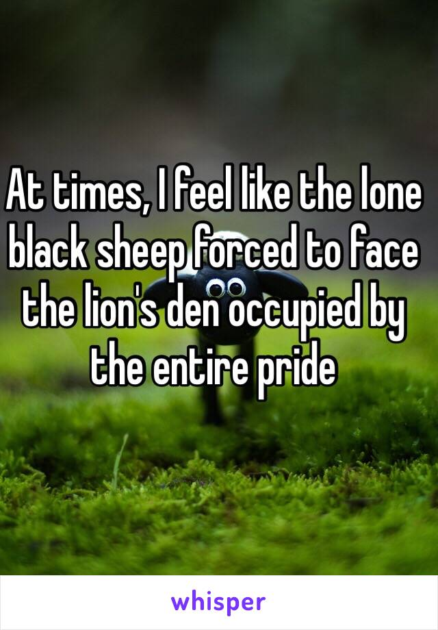 At times, I feel like the lone black sheep forced to face the lion's den occupied by the entire pride