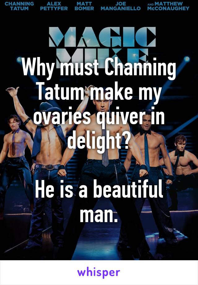Why must Channing Tatum make my ovaries quiver in delight?  He is a beautiful man.