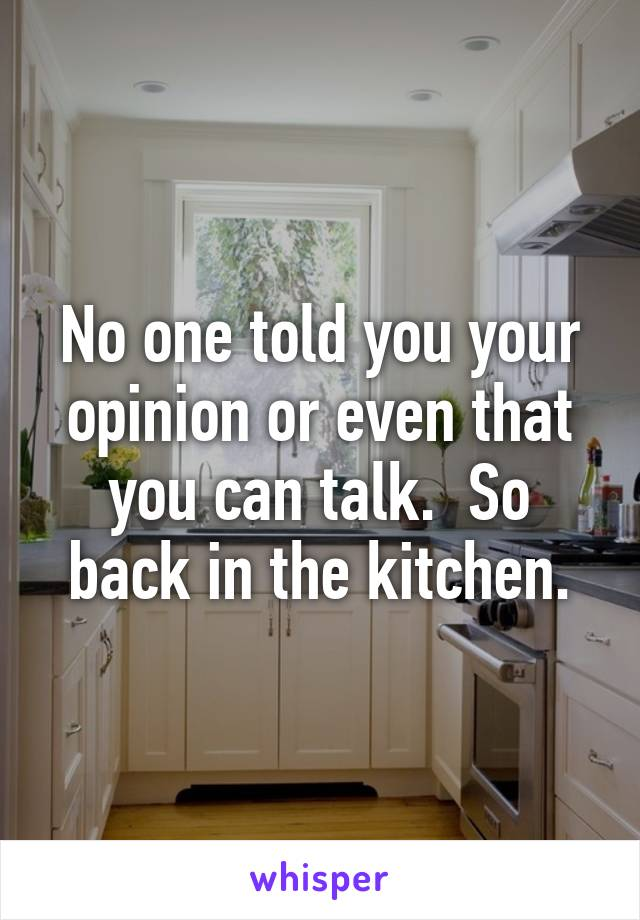No one told you your opinion or even that you can talk.  So back in the kitchen.