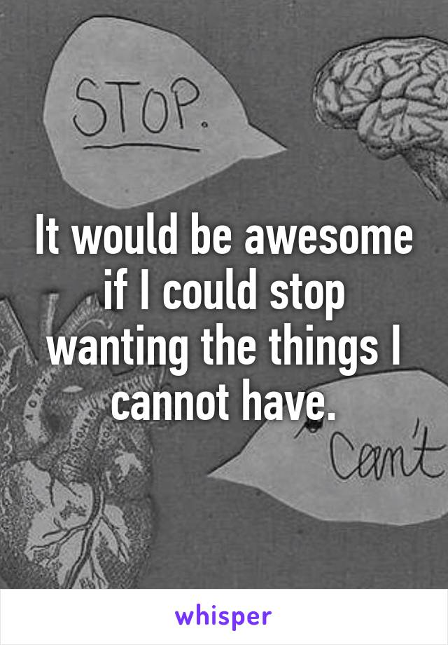 It would be awesome if I could stop wanting the things I cannot have.