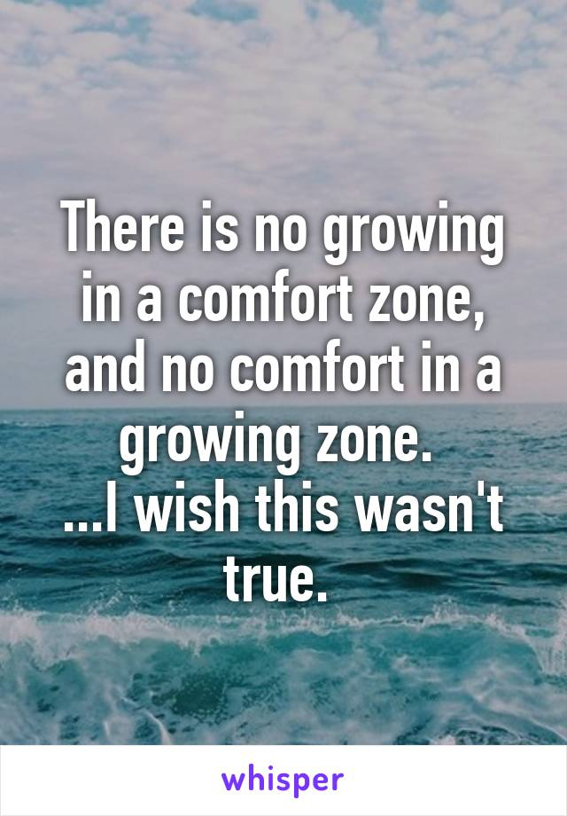 There is no growing in a comfort zone, and no comfort in a growing zone.  ...I wish this wasn't true.