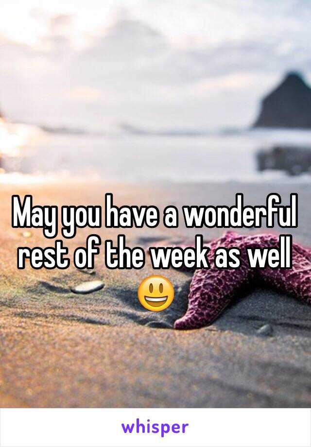 May you have a wonderful rest of the week as well 😃